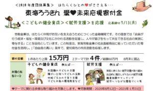 東海ろうきん愛・未来応援寄付金2020年度